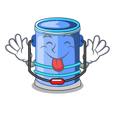 Tongue out bucket cylinder water in shape character vector illustration