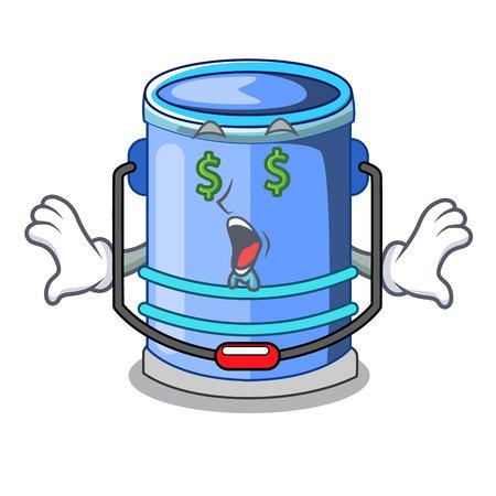 Money eye bucket cylinder water in shape character vector illustration Illustration