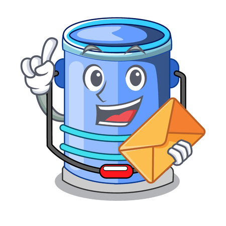 With envelope cylinder bucket Isometric of for mascot vector illustration