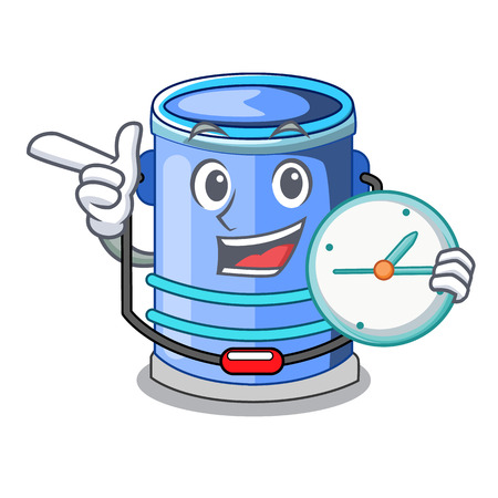 With clock cylinder bucket Isometric of for mascot vector illustration Illustration