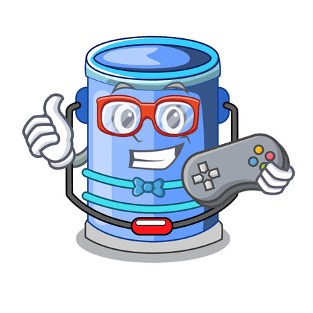 Gamer cylinder bucket with handle on cartoon vector illustration