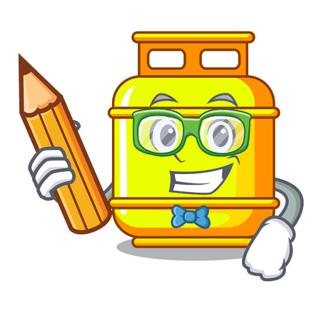 Student gas tank operating the character cooking vector illustration