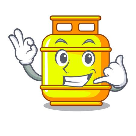 Chiamami bombola del serbatoio del gas isolata sull'illustrazione vettoriale della mascotte