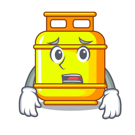 Afraid creative in gas cartoon tank container vector illustration Ilustração