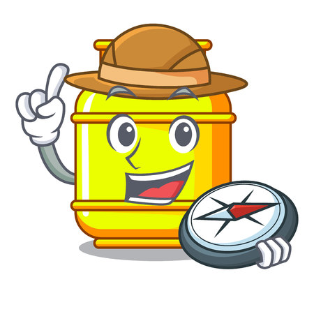 Explorer creative in gas cartoon tank container vector illustration