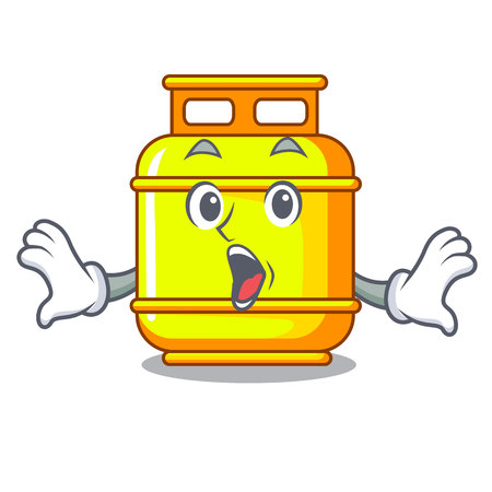 Surprised creative in gas cartoon tank container vector illustration