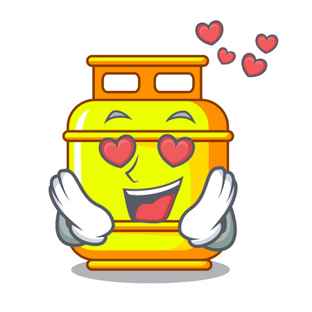 In love creative in gas cartoon tank container vector illustration