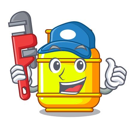 Cylindre de réservoir de gaz plombier isolé sur illustration vectorielle mascotte