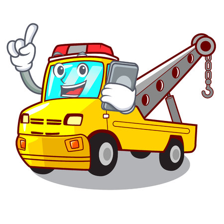 With phone Cartoon tow truck isolated on rope vector illustration Banque d'images - 127413239