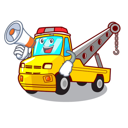 With megaphone Cartoon tow truck isolated on rope vector illustration