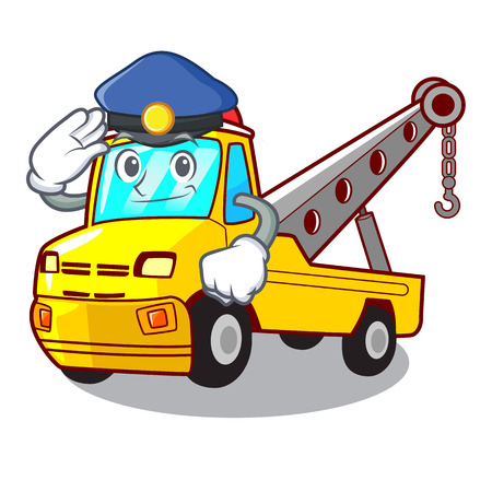 Police Cartoon tow truck isolated on rope vector illustration Banque d'images - 127413241