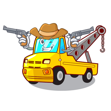 Cowboy Cartoon tow truck isolated on rope vector illustration Banque d'images - 127413244