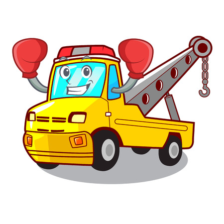 Boxing Cartoon tow truck isolated on rope vector illustration Illustration