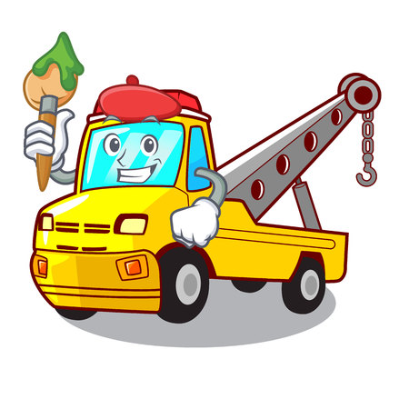 Artist Cartoon tow truck isolated on rope vector illustration Banque d'images - 127413246