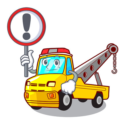 With sign Cartoon tow truck isolated on rope vector illustration Banque d'images - 127413247