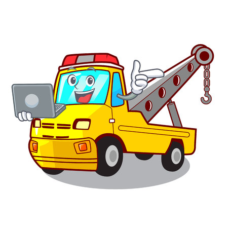 With laptop Cartoon tow truck isolated on rope vector illustration Banque d'images - 127413248