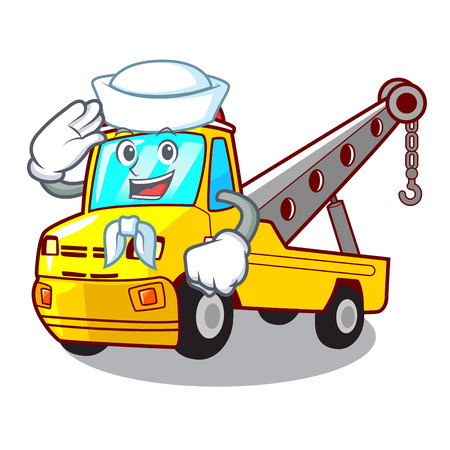 Sailor Cartoon tow truck isolated on rope vector illustration