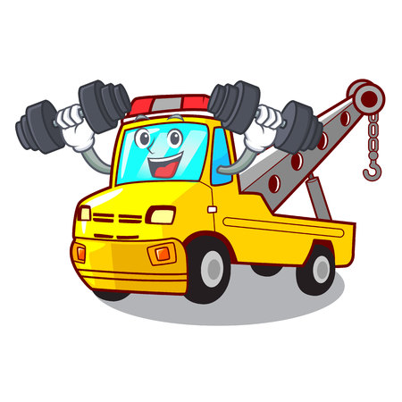 Fitness Cartoon tow truck isolated on rope vector illustration Banque d'images - 127413250