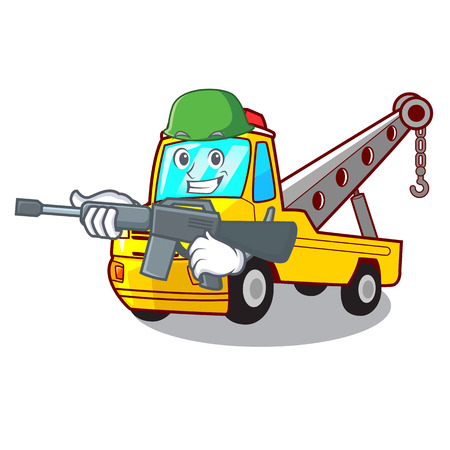 Army Cartoon tow truck isolated on rope vector illustration
