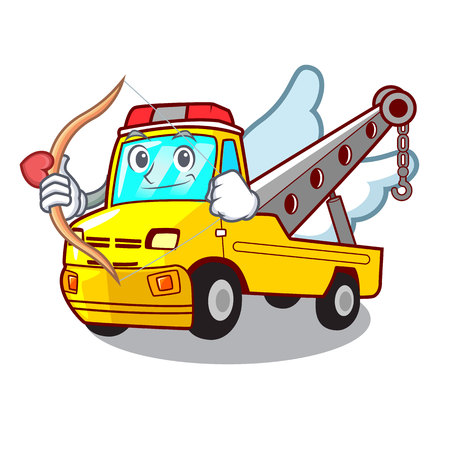 Cupid Cartoon tow truck isolated on rope vector illustration Banque d'images - 127413253