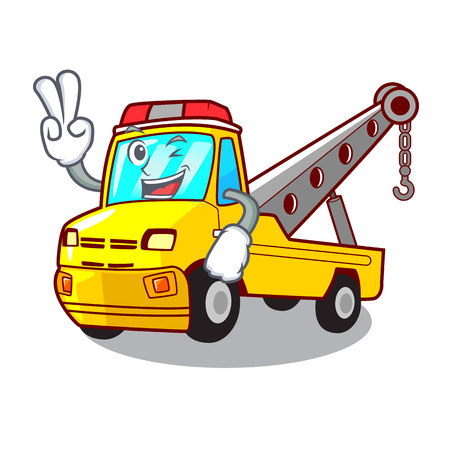 Two finger truck tow the vehicle with mascot vector illustrartion Banque d'images - 127413254