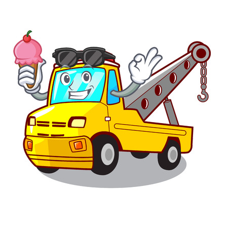With ice cream truck tow the vehicle with mascot vector illustrartion Banque d'images - 127413256
