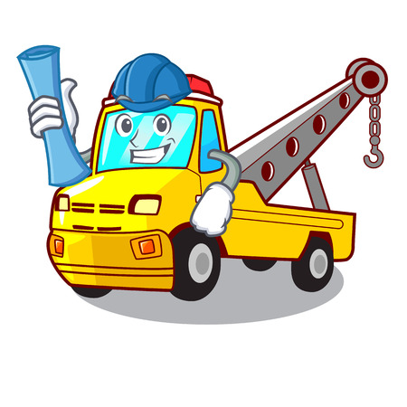 Architect truck tow the vehicle with mascot vector illustrartion Banque d'images - 127413258