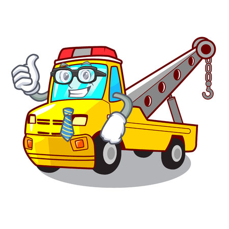 Businessman truck tow the vehicle with mascot vector illustrartion Banque d'images - 127413261