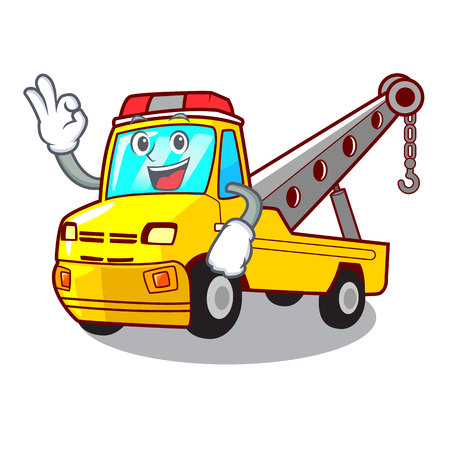 Okay truck tow the vehicle with mascot vector illustrartion Banque d'images - 127413262