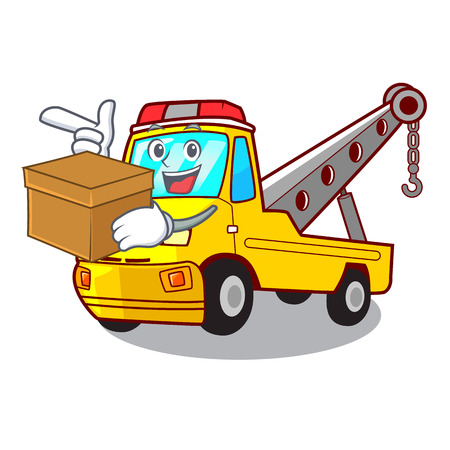 With box truck tow the vehicle with mascot vector illustrartion Banque d'images - 127413264