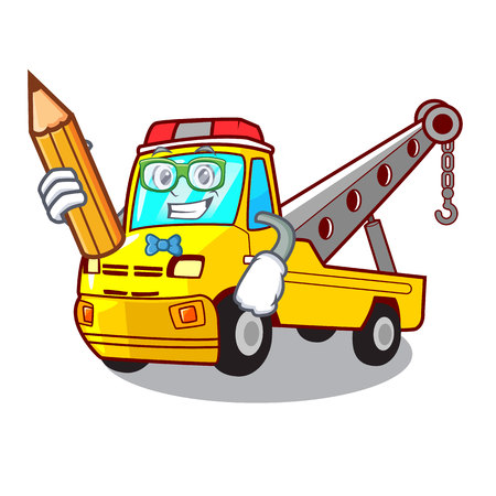 Student truck tow the vehicle with mascot vector illustrartion Banque d'images - 127413265