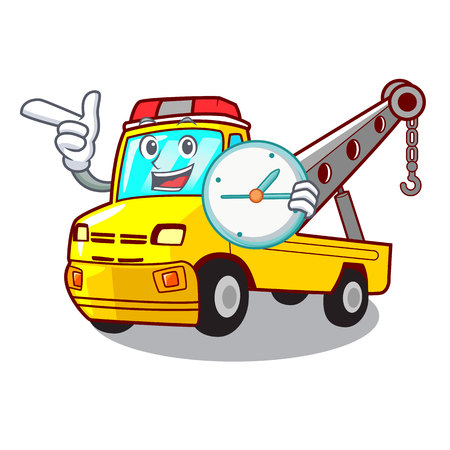 With clock truck tow the vehicle with mascot vector illustrartion Banque d'images - 127413266