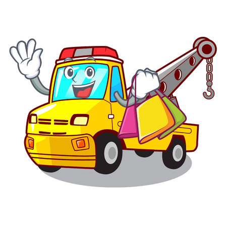 Shopping truck tow the vehicle with mascot vector illustrartion Banque d'images - 127413267
