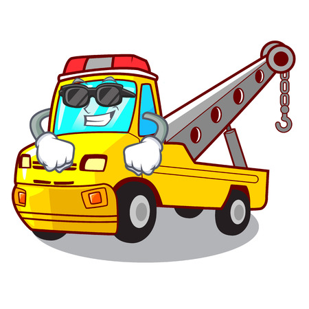 Super cool truck tow the vehicle with mascot vector illustrartion Banque d'images - 127413269