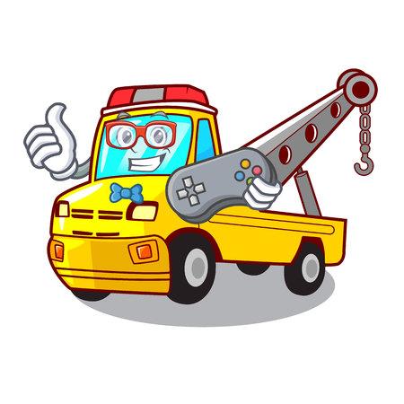 Gamer transportation on truck towing cartoon car vector illustration