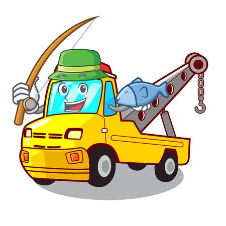 Fishing transportation on truck towing cartoon car vector illustration