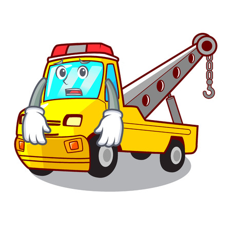 Afraid transportation on truck towing cartoon carvector illustration