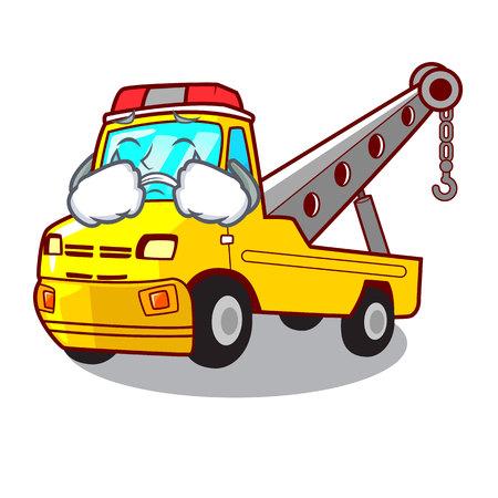 Crying transportation on truck towing cartoon carvector illustration Illustration
