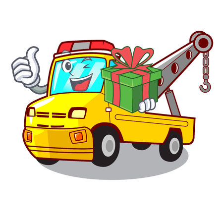With gift transportation on truck towing cartoon carvector illustration