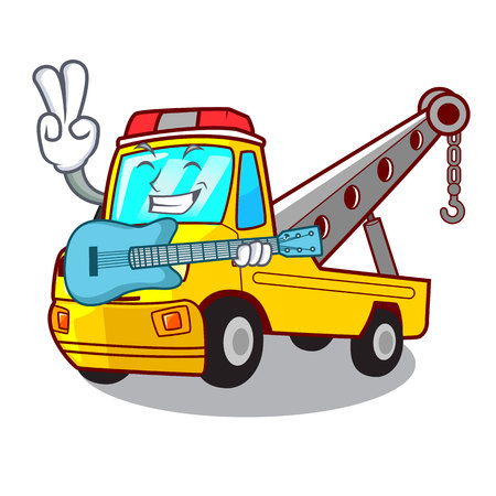 With guitar transportation on truck towing cartoon carvector illustration