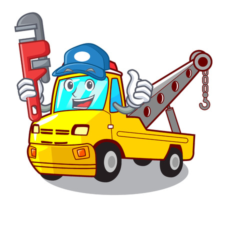 Plumber tow truck for vehicle branding character vector illustration