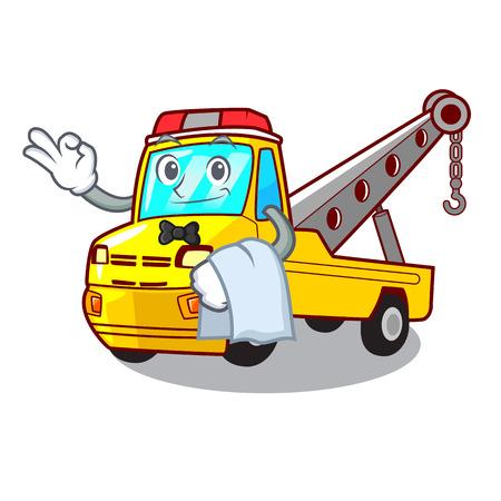 Waiter transportation on truck towing cartoon carvector illustration Illustration
