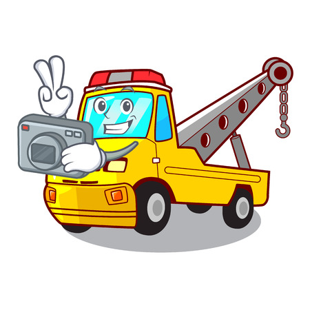 Photographer transportation on truck towing cartoon carvector illustration Foto de archivo - 127413283