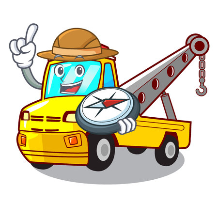 Explorer transportation on truck towing cartoon carvector illustration Stock Vector - 127413284