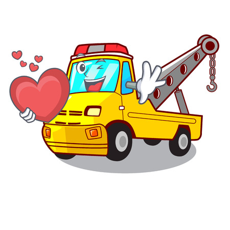 With heart transportation on truck towing cartoon carvector illustration Stock Vector - 127413285