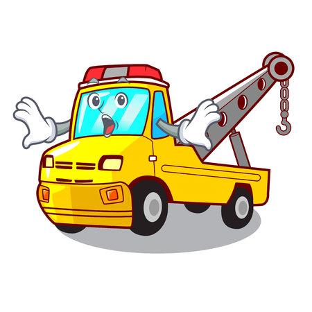 Surprised transportation on truck towing cartoon carvector illustration