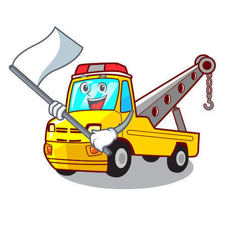 With flag tow truck for vehicle branding character vector illustration