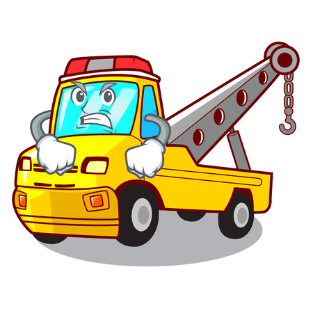 Angry transportation on truck towing cartoon carvector illustration Illustration