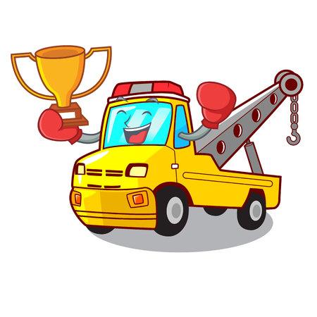 Boxing winner tow truck for vehicle branding character vector illustration