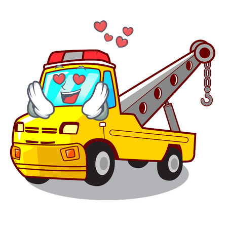 In love transportation on truck towing cartoon carvector illustration Stock Vector - 127413294